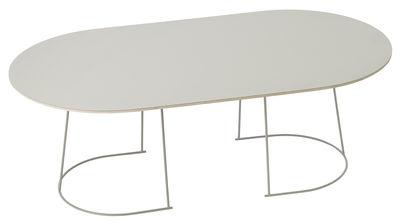 Arredamento - Comodini - Tavolino Airy - / Large - 120 x 65 cm di Muuto - Bianco / Gamba bianca - Acciaio verniciato, Compensato, Stratificato
