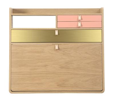 Furniture - Office Furniture - Gaston Wall writing desk - / L 80 x H 72 cm by Hartô - Brass & apricot rose / Oak - MDF veneer oak