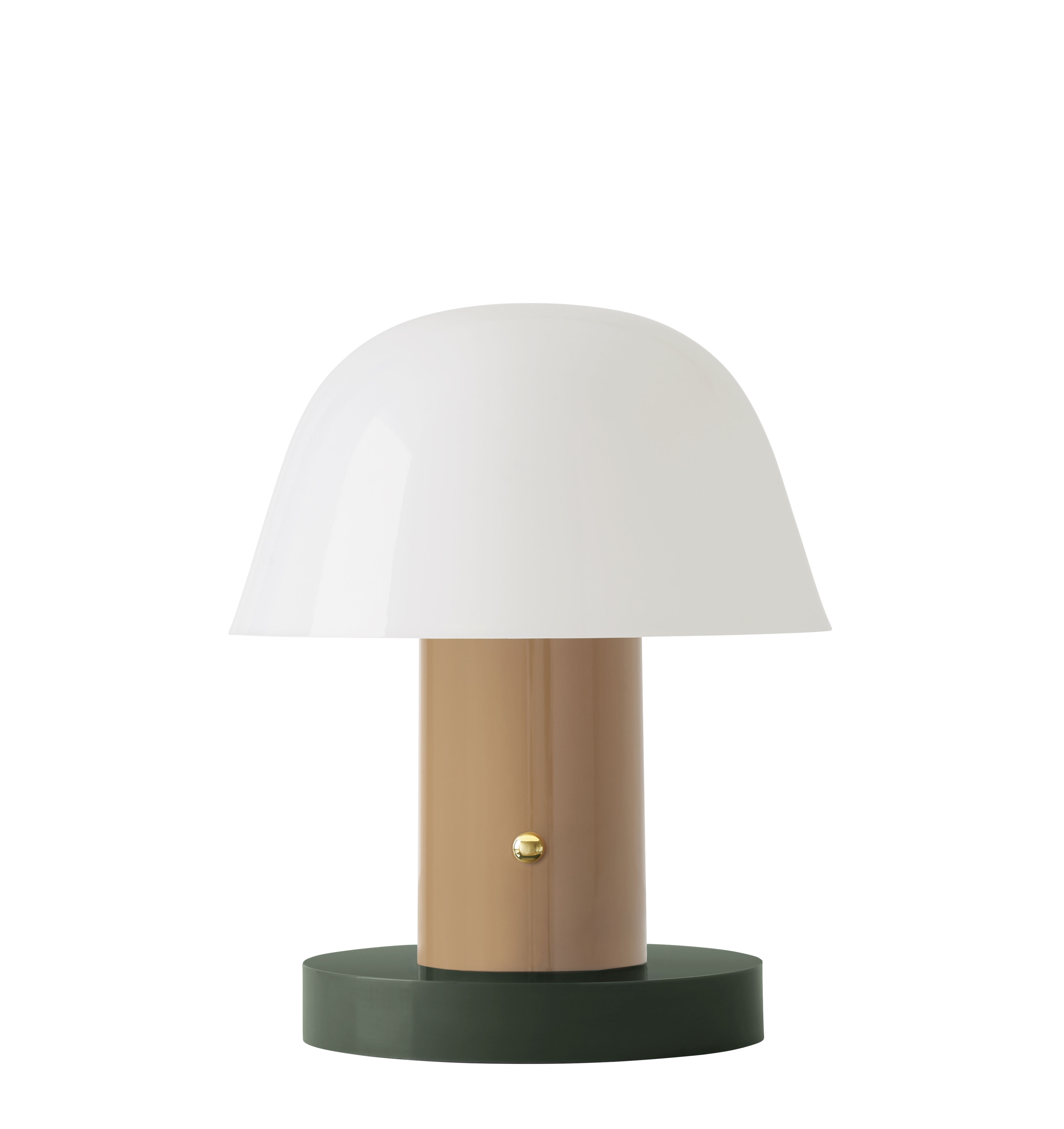 Lighting - Table Lamps - Setago  JH27 Wireless lamp - / LED - by Jaime Hayon by &tradition - Nude beige / Green base - Polycarbonate moulé