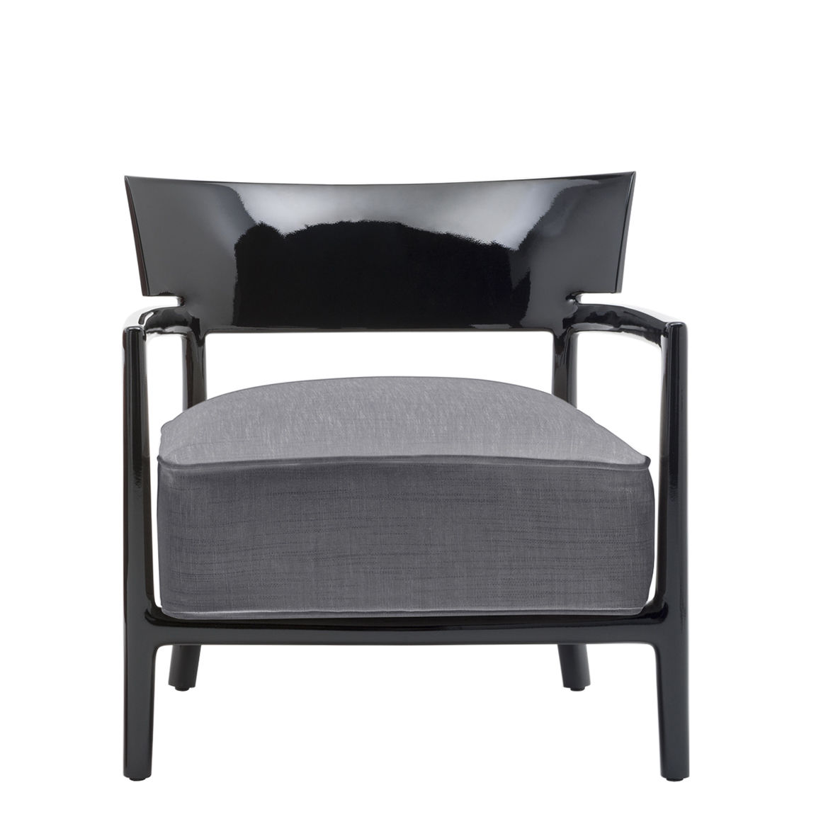 Furniture - Chairs - Cara Solid Color Armchair - / Tissu by Kartell - Black / Charcoal grey fabric - Fabric, Polycarbonate, Polyurethane