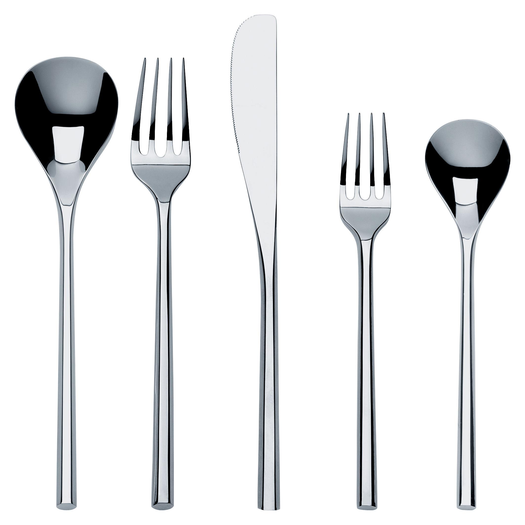 Tischkultur - Bestecke - Mu Besteck Set / 5-teiliges Besteckservice - Alessi - Set für 1 Person / Stahl - Acier inoxydable 18/10