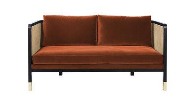 Canapé droit Cannage L 160 cm Velours RED Edition noir,naturel,laiton,orange fox en tissu