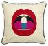 Cuscino Lips Full Dose - / Ricamato a mano - 46 x 46 cm di Jonathan Adler