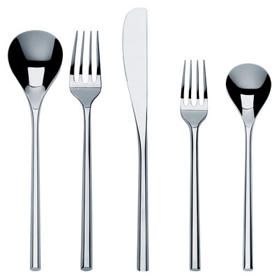 Tableware - Cutlery - Mu Cutlery set - Set 5 pieces by Alessi - Steel - Stainless steel 18/10