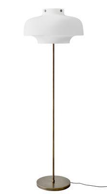 Lighting - Floor lamps - Copenhague SC14 Floor lamp - / Ø 50 cm - H 150 cm - Verre by &tradition - Blanc / Bronze - Satin opaline glass - Bronze-effect brass