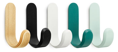 Furniture - Coat Racks & Pegs - Curve Hook - Set of 5 by Normann Copenhagen - Multicolored - Ash veneer varnished