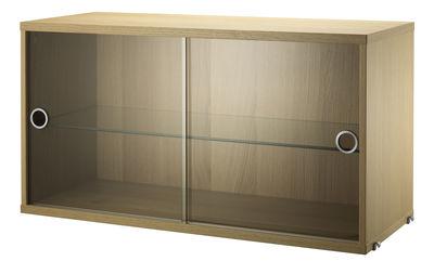 Möbel - Regale und Bücherregale - String System Kiste / mit 2 Schiebetüren aus Glas - L 78 cm - String Furniture - Eiche / Glas (transparent) - Einscheiben-Sicherheitsglas, Furniereiche, rostfreier Stahl