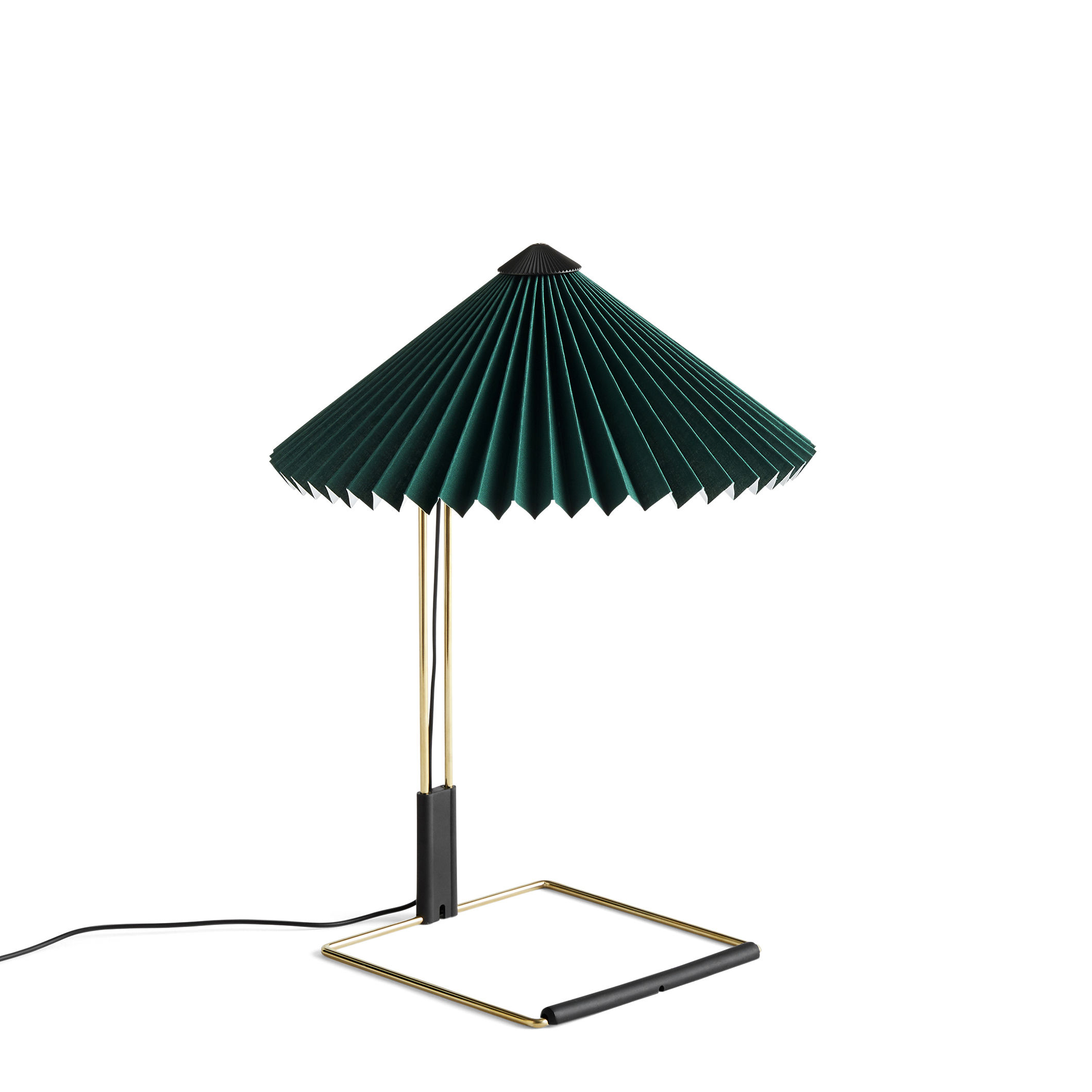Illuminazione - Lampade da tavolo - Lampada da tavolo Matin Small - / LED - H 38 cm - Tessuto & metallo di Hay - Verde / Ottone lucidato - Acciaio con finitura in ottone, Cotone pieghettato