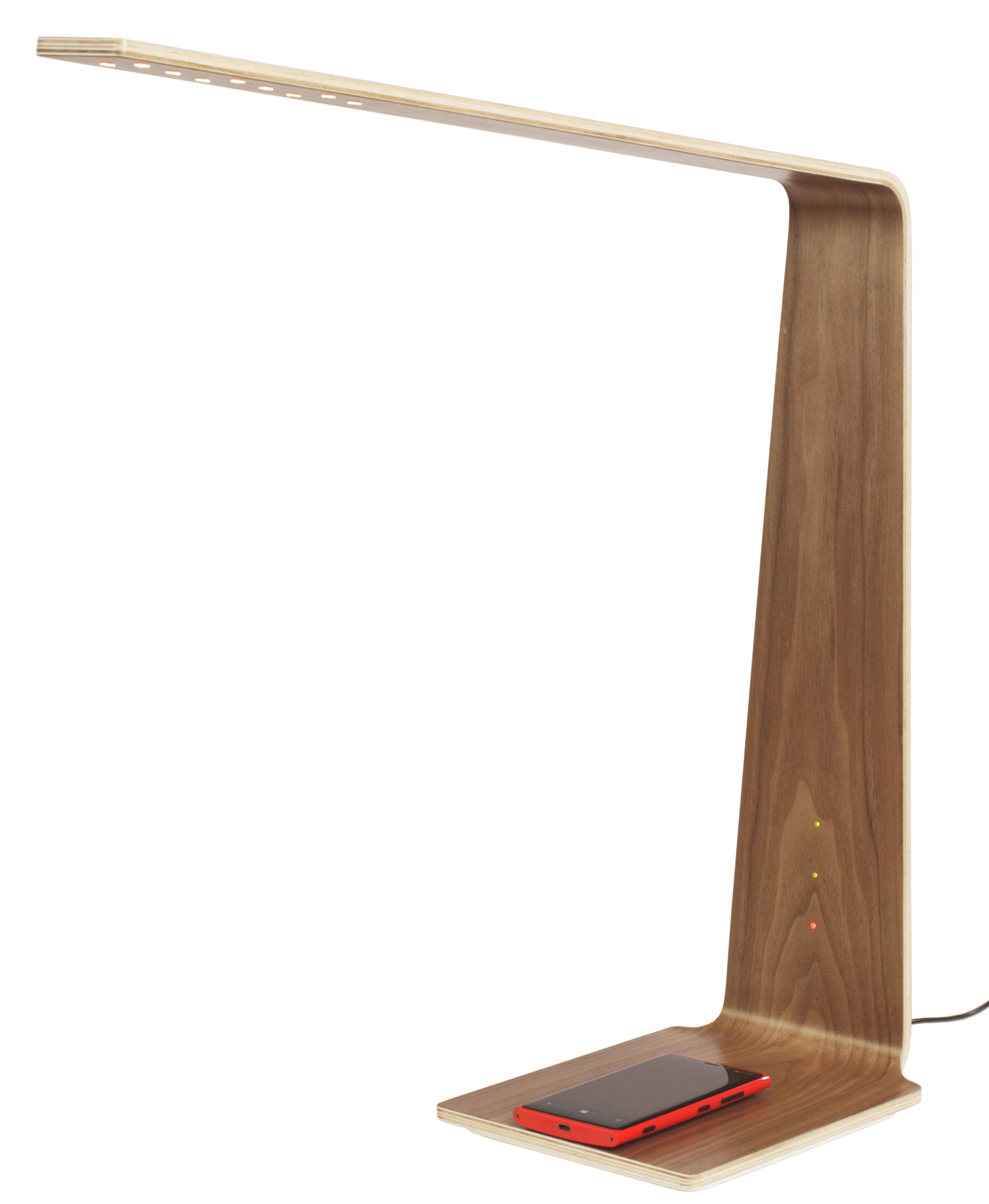 Leuchten - Tischleuchten - LED8 Lampe ohne Kabel / kabellose Smartphone-Ladestation - Tunto - Nussbaum - Nussbaum
