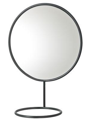 Accessoires - Accessoires salle de bains - Miroir mural Reflection Ø 42 cm / Porte-serviettes ou bijoux - Nomess - Noir - Métal peint