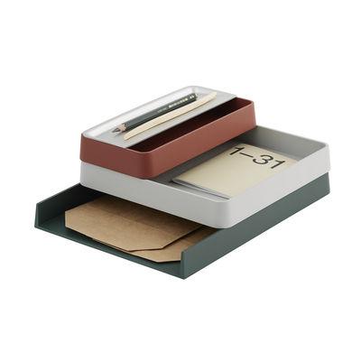 Accessoires - Accessoires bureau - Organiseur de bureau Arrange n°2 / Set 3 pièces empilable - Muuto - Antracite, gris clair, brique - Aluminium, Plastique recyclé