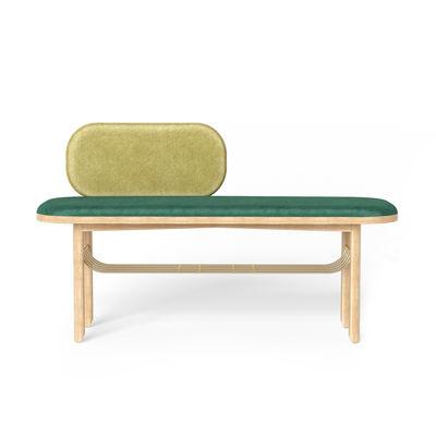 Arredamento - Panchine - Panchina Eustache - / L 102 cm - Velluto di Hartô - Verde - Espanso, MDF, Ottone spazzolato, Rovere massello, Velluto poliestere