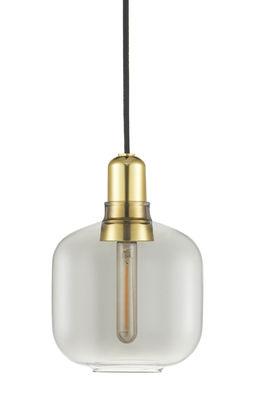 Amp Small Pendelleuchte / Ø 14 cm x H 17 cm - Glas & Messing - Normann Copenhagen - Messing,Rauchgrau
