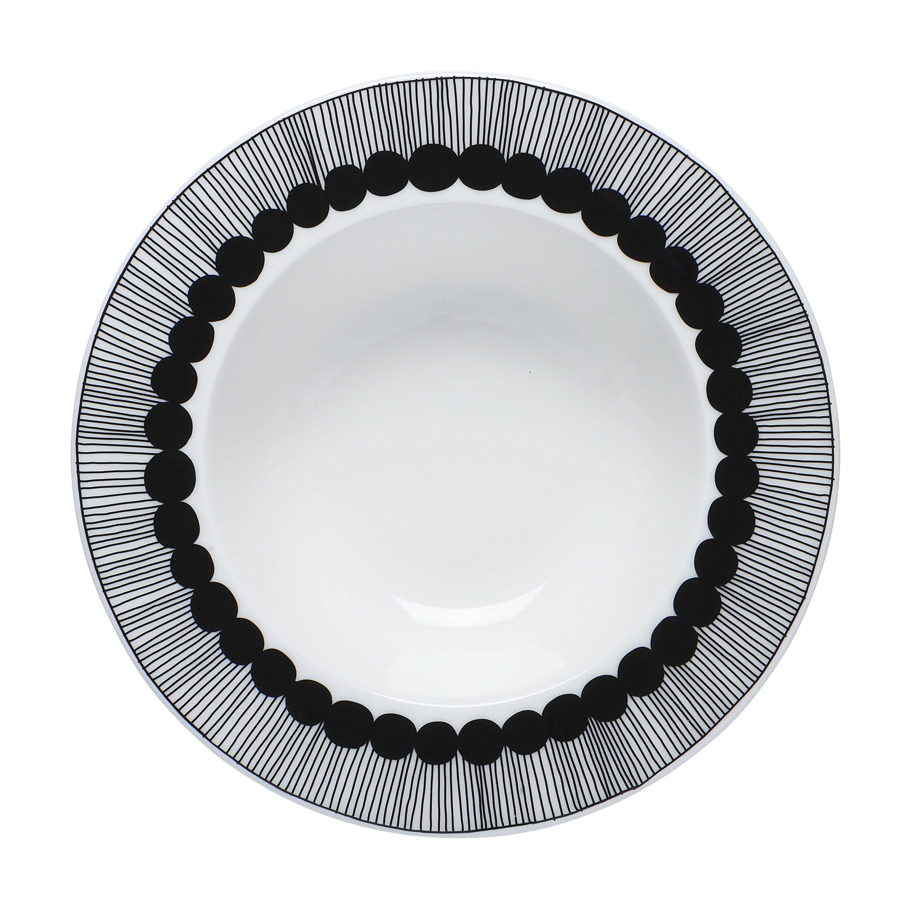 Tavola - Piatti  - Piatto fondo Siirtolapuutarha - /Ø 20 cm di Marimekko - Bianco-nero - Porcellana smaltata