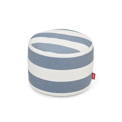 Mobilier - Poufs - Pouf Point Outdoor / Olefin - Ø 50 cm - Fatboy - Rayé bleu Océan -  Microbilles EPS, Tissu Olefin