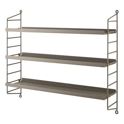 Möbel - Regale und Bücherregale - String® Pocket Metal Regal / Lochstahl - L 60 x H 50 cm - String Furniture - Taupe - lackierter Stahl