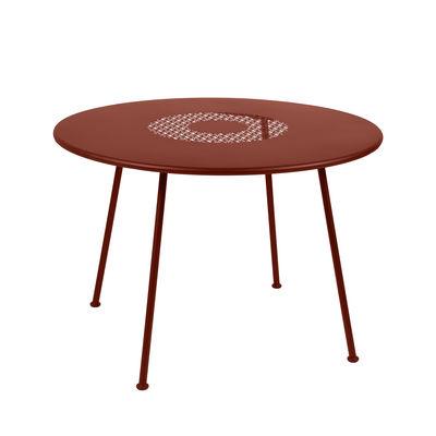 Outdoor - Tische - Lorette Runder Tisch / Ø 110 cm - perforiertes Metall - Fermob - Ockerrot - lackierter Stahl