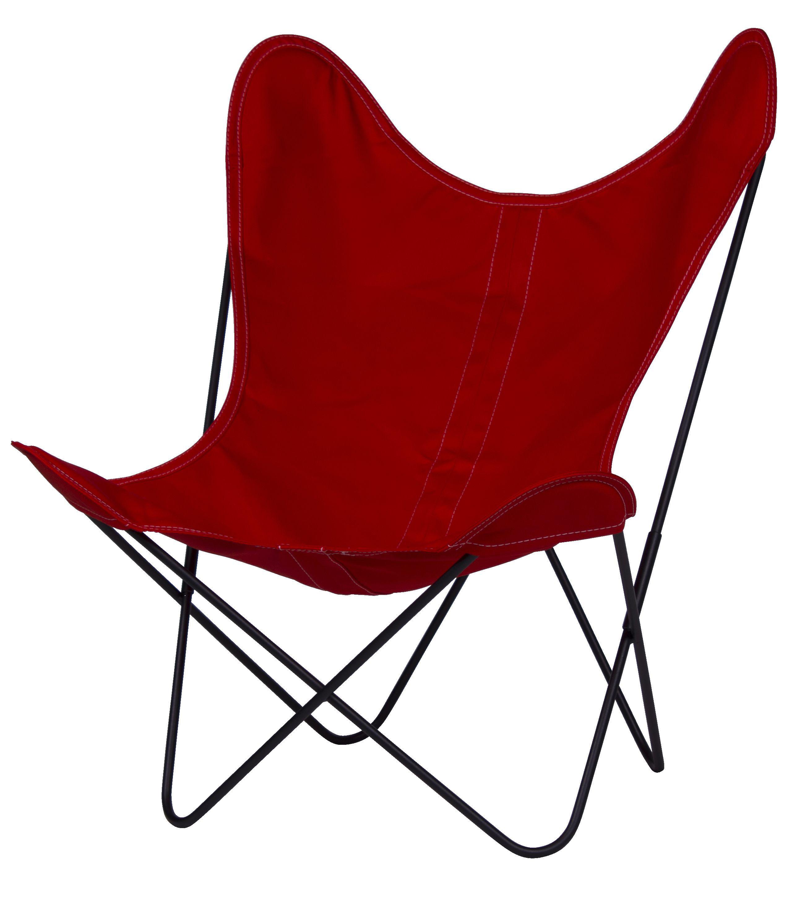 Möbel - Lounge Sessel - AA Butterfly Sessel Stoffbezug / Gestell schwarz - AA-New Design - Gestell schwarz / Bezug Kirsche - lackierter Stahl, Leinen