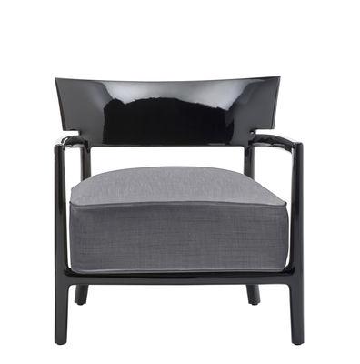 Möbel - Stühle  - Cara Solid Color Sessel / Stoffbezug - Kartell - Schwarz / Stoffbezug anthrazit - Gewebe, Polykarbonat, Polyurhethan