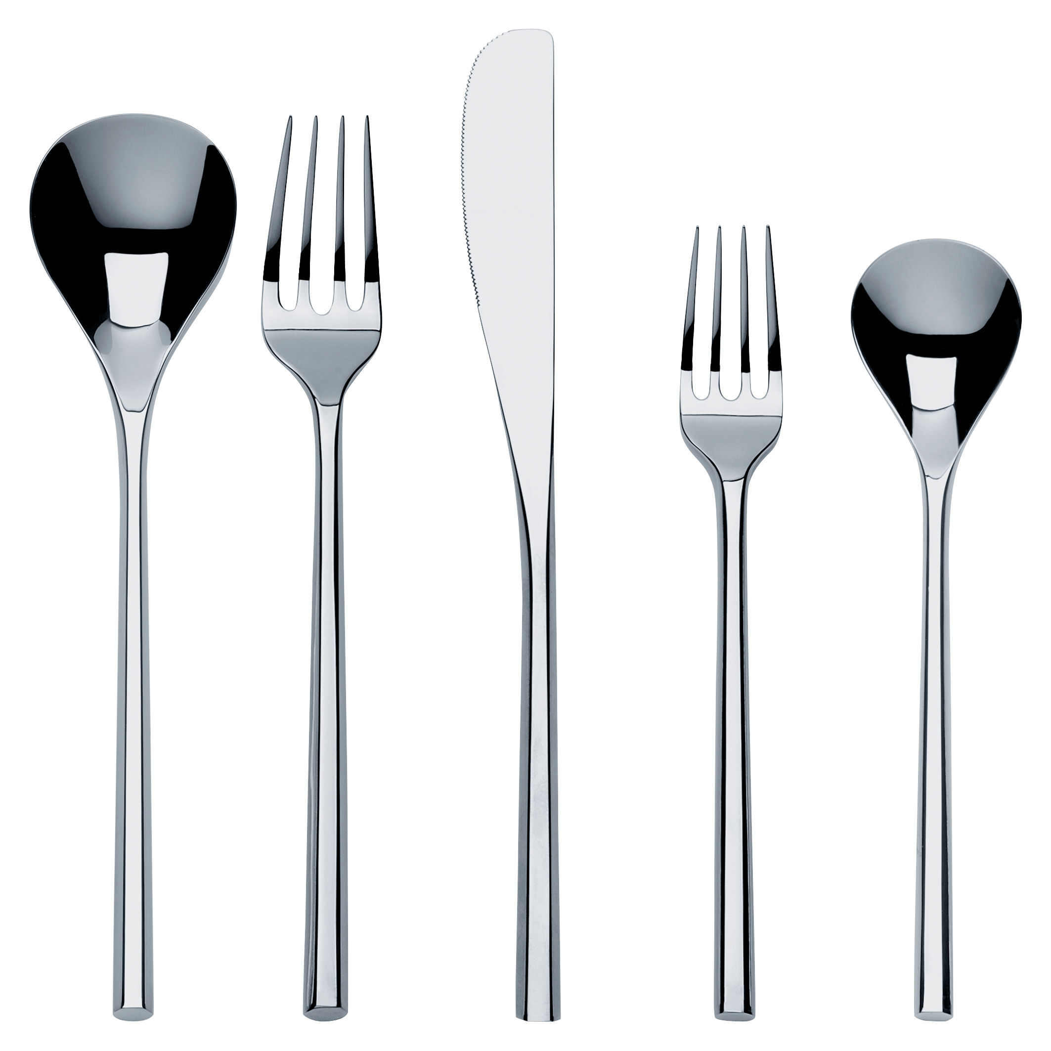 Arts de la table - Couverts de table - Set de couverts Mu / Ensemble 5 couverts - Alessi - Set 1 personne / Acier - Acier inoxydable 18/10