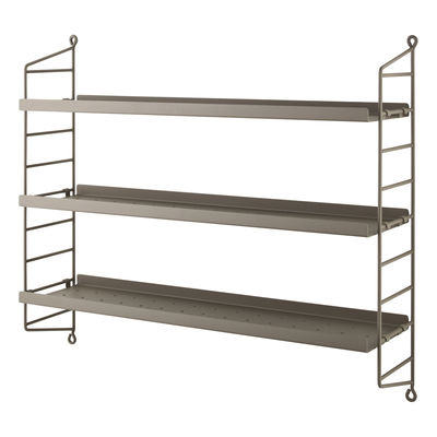 Furniture - Bookcases & Bookshelves - String® Pocket Metal Shelf - / Perforated steel - L 60 x H 50 cm by String Furniture - Taupe - Lacquered steel