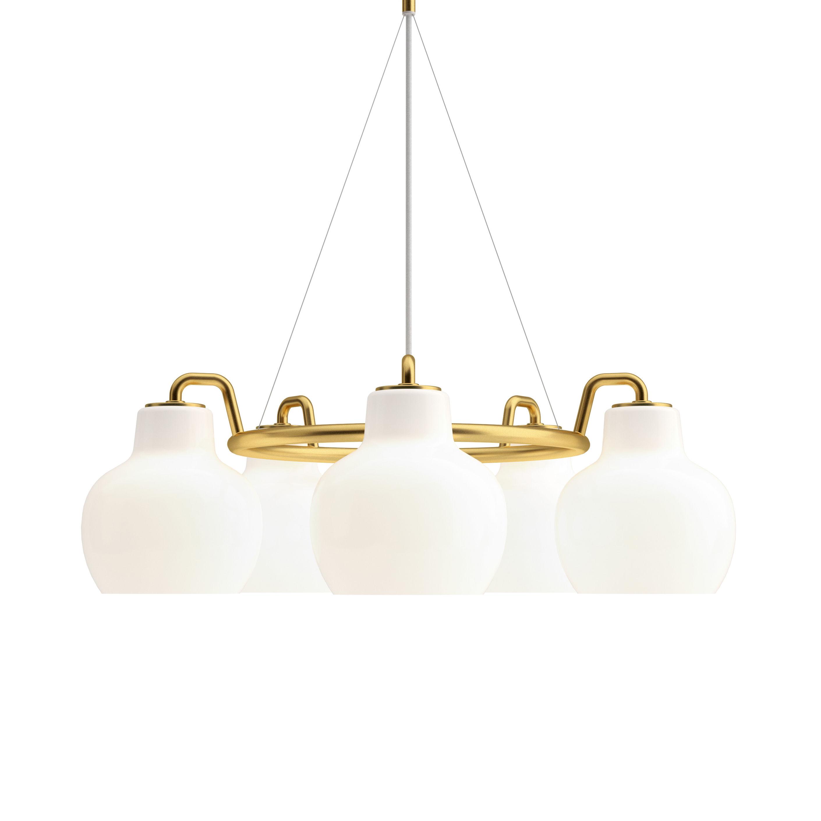 Illuminazione - Lampadari - Sospensione VL Ring Crown - / 5 paralumi - Ø 69 cm di Louis Poulsen - Bianco / Ottone - Ottone, Vetro soffiato a bocca