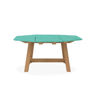 Outdoor - Garden Tables - Rafael Octogonal Square table - / 160 x 160 cm - Lava stone & brushed teak - 8 people by Ethimo - Brushed teak / Emerald green - FSC brushed teak, Glazed lava stone