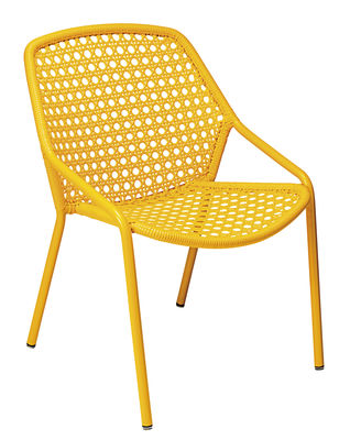 Furniture - Armchairs - Croisette Stackable armchair by Fermob - Honey -   Fibres synthétiques, Aluminium