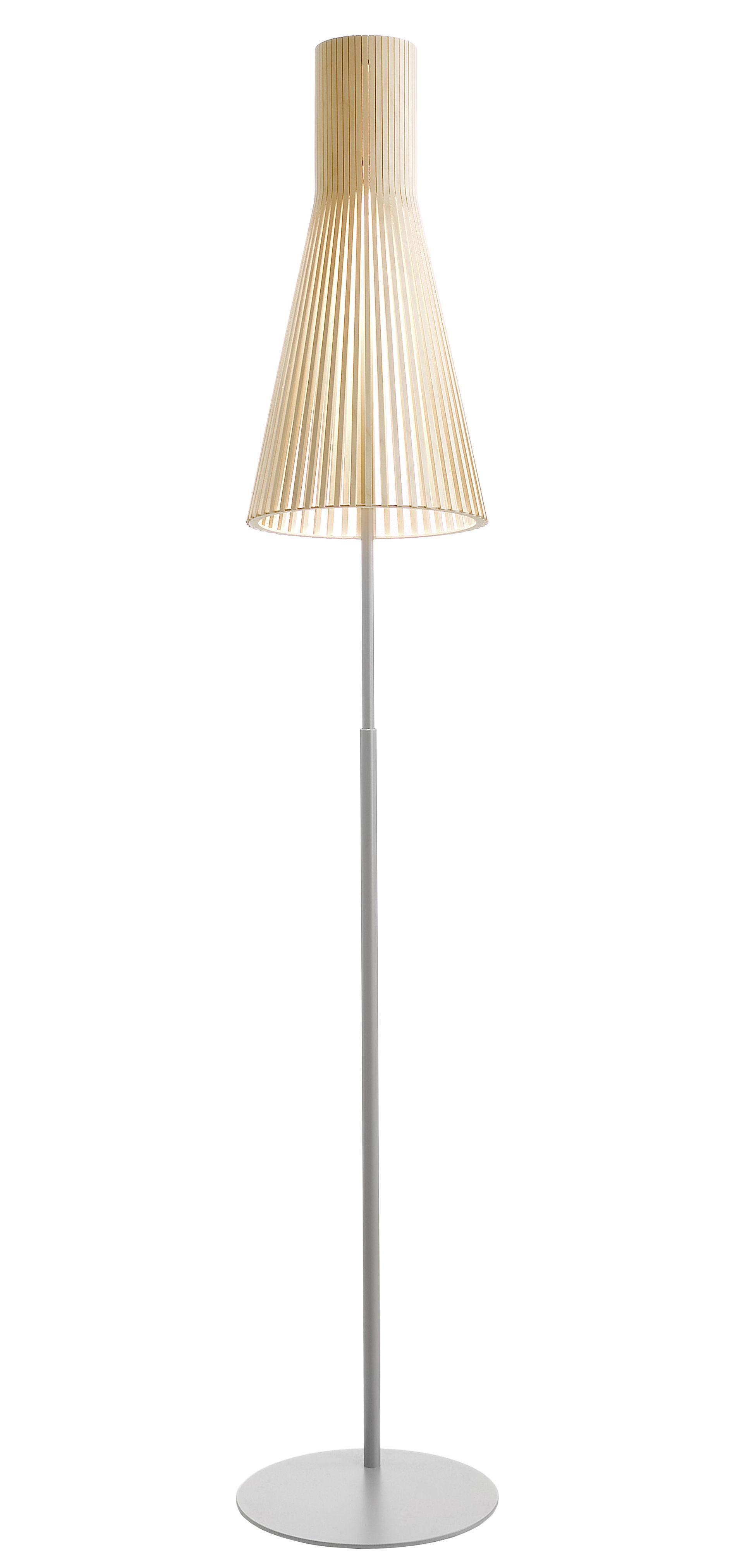 Leuchten - Stehleuchten - Secto Stehleuchte / H verstellbar 175 bis 185 cm - Secto Design - Birkenholz natur / Gestell hellgrau - Birkenlatten, Metall