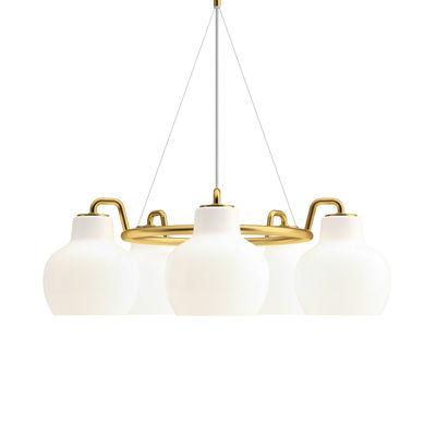 Luminaire - Suspensions - Suspension VL Ring Crown / 5 abat-jours - Ø 69 cm - Louis Poulsen - Blanc / Laiton - Laiton, Verre soufflé bouche