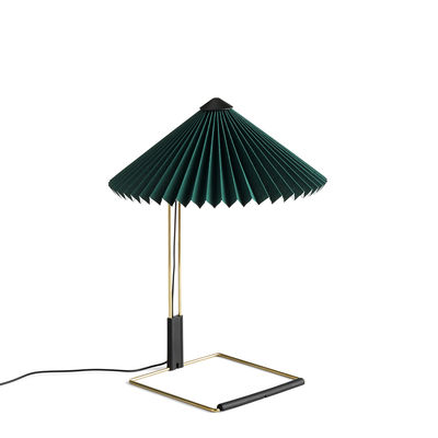 Lighting - Table Lamps - Matin Small Table lamp - / LED - H 38 cm - Fabric & metal by Hay - Green / Polished brass - Pleated cotton, Steel with brass finish