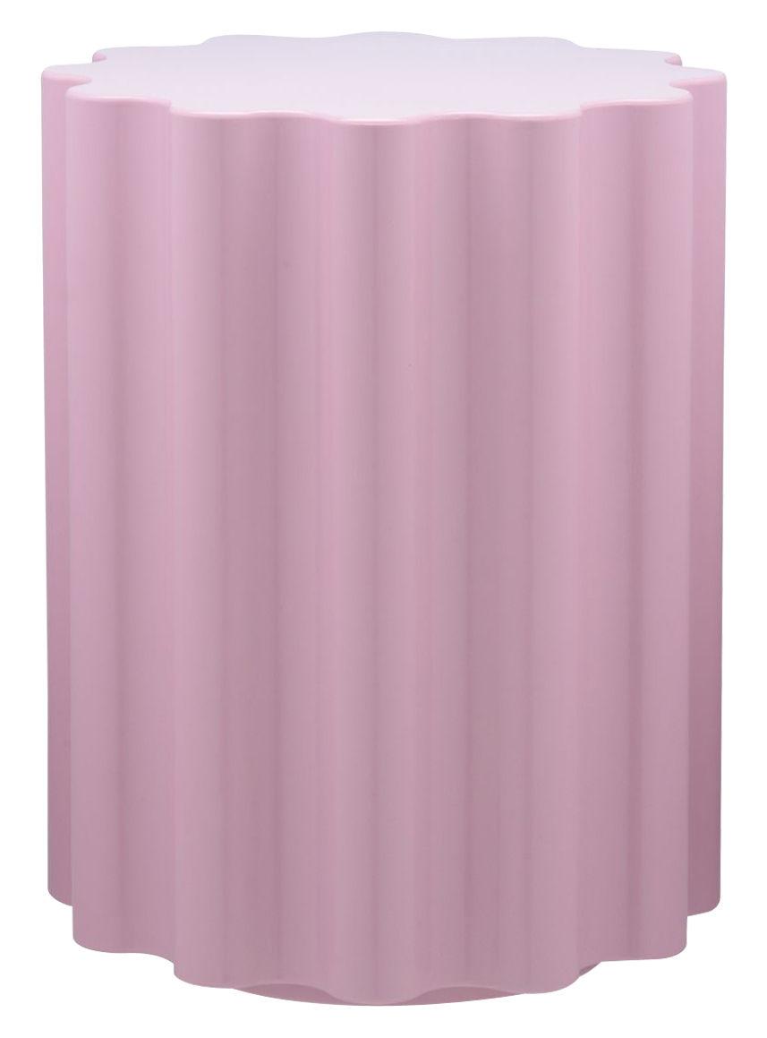 Mobilier - Tabourets bas - Tabouret Colonna / H 46 x Ø 34,5 cm - By Ettore Sottsass - Kartell - Rose - Technopolymère thermoplastique teinté dans la masse