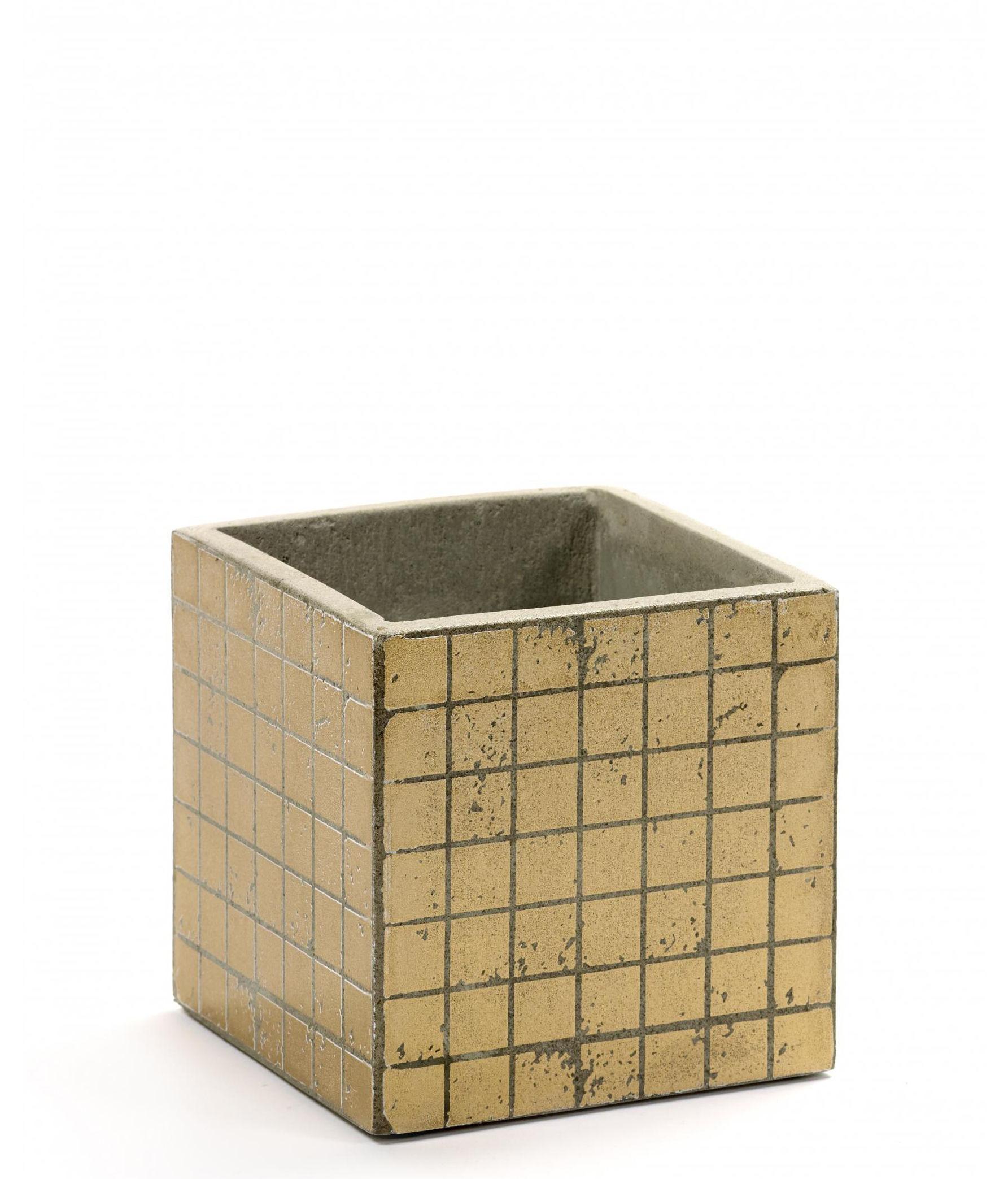 Outdoor - Töpfe und Pflanzen - Marie Mosaïque Topf / 13 x 13 cm - emaillierter Beton - Serax - Goldfarben - Béton émaillé