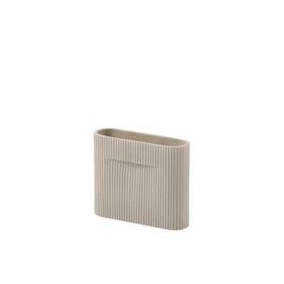 Déco - Vases - Vase Ridge Small / H 16,5 cm - Céramique - Muuto - Beige - Faïence