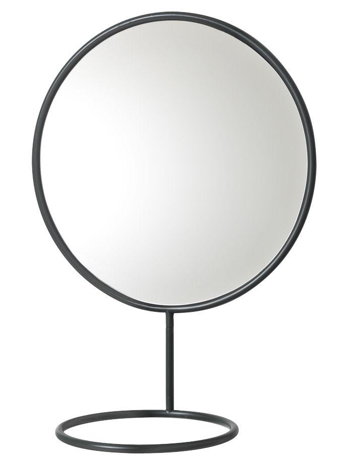 Accessoires - Accessoires für das Bad - Reflection Wandspiegel / zum Befestigen an der Wand - mit Handtuch- oder Schmuckhalter - Nomess - Schwarz - bemaltes Metall
