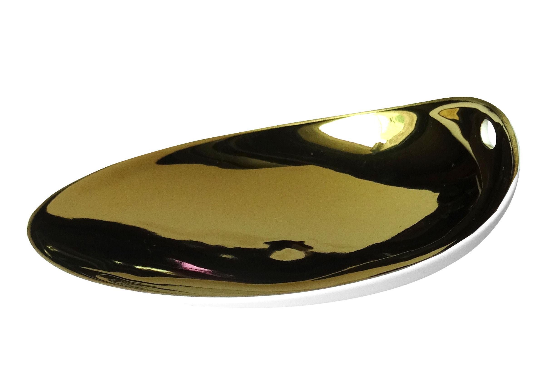 Arts de la table - Assiettes - Assiette Jomon Small / 14 x 11 cm - cookplay - Or / Blanc - Porcelaine