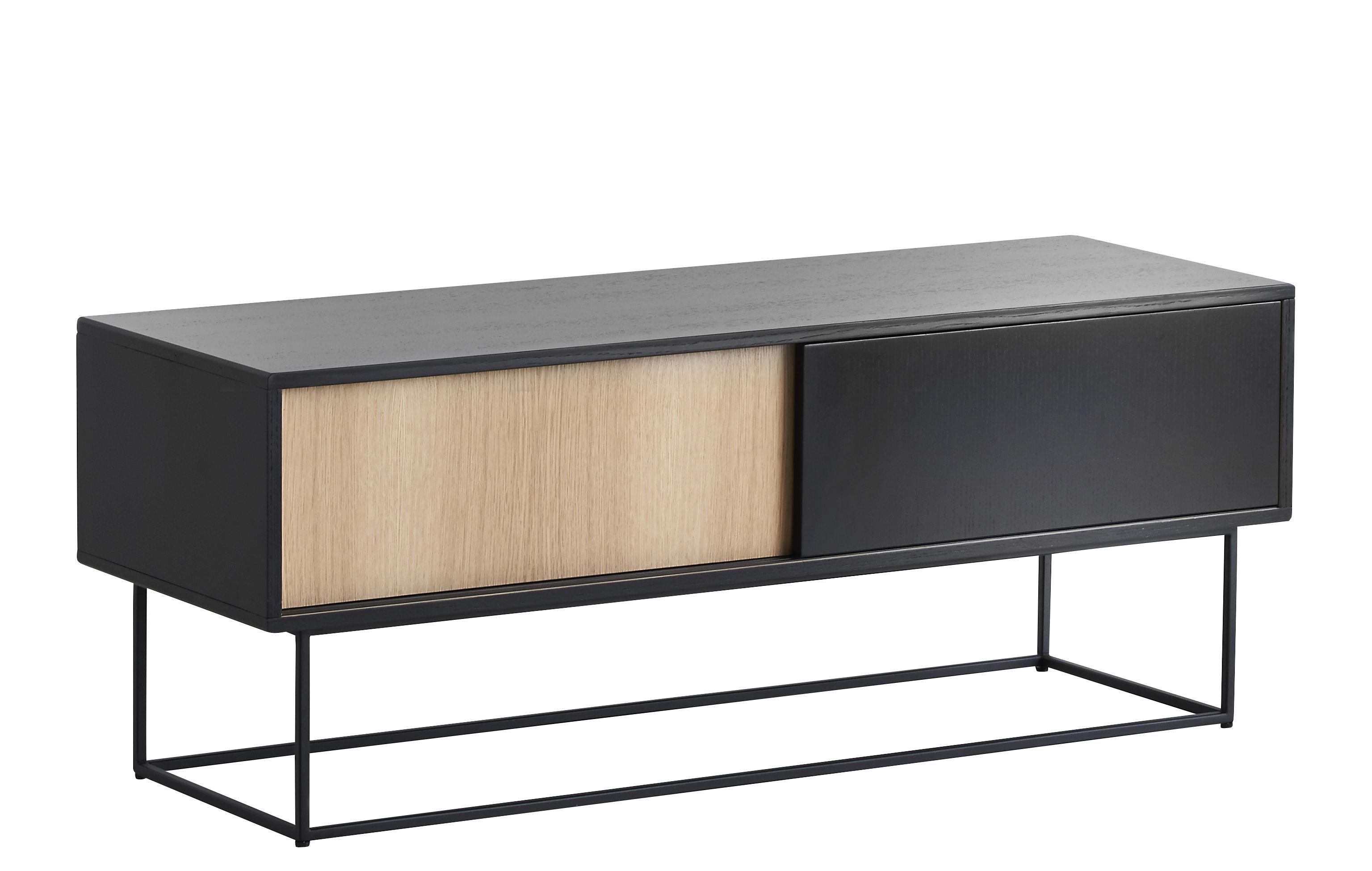 Mobilier - Commodes, buffets & armoires - Buffet Virka Low / Meuble TV - L 120 x H 47 cm - Woud - Bois naturel / Noir - Contreplaqué de chêne, Métal