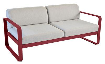 Canapé droit Bellevie 2 places / L 160 cm - Tissu gris - Fermob piment,gris flanelle en métal