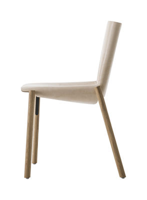 Furniture - Chairs - 1085 Edition Chair - / Real leather by Kristalia - Beige leather / Walnut stained wood - Full grain leather, Tinted oak wood