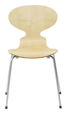 Mobilier - Chaises, fauteuils de salle à manger - Chaise empilable Fourmi / Bois naturel - Fritz Hansen - Érable - Acier, Contreplaqué d'érable verni