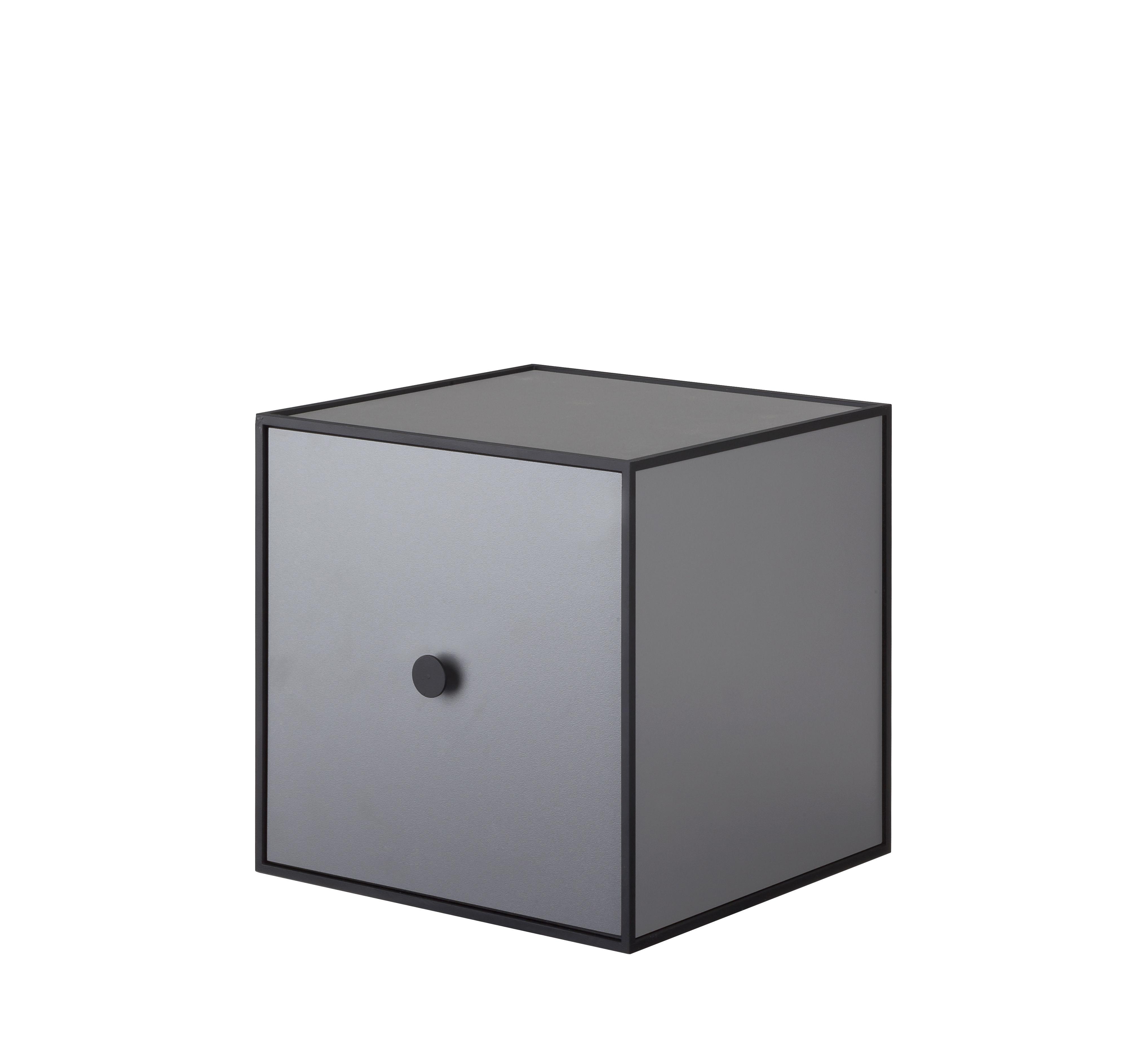 Mobilier - Etagères & bibliothèques - Etagère Frame / Boîte - 28x28 cm - by Lassen - Gris foncé - Mélamine, Métal laqué époxy
