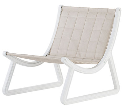 Mobilier - Fauteuils - Fauteuil bas Dream Line / Pour l'extérieur - Similicuir & plastique - Slide - Similicuir beige / Structure blanche - Cuir synthétique, Polyuréthane