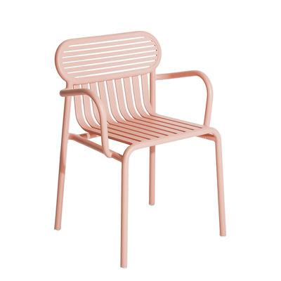 Mobilier - Chaises, fauteuils de salle à manger - Fauteuil bridge Week-End / Empilable - Aluminium - Petite Friture - Rose Blush - Aluminium thermolaqué époxy