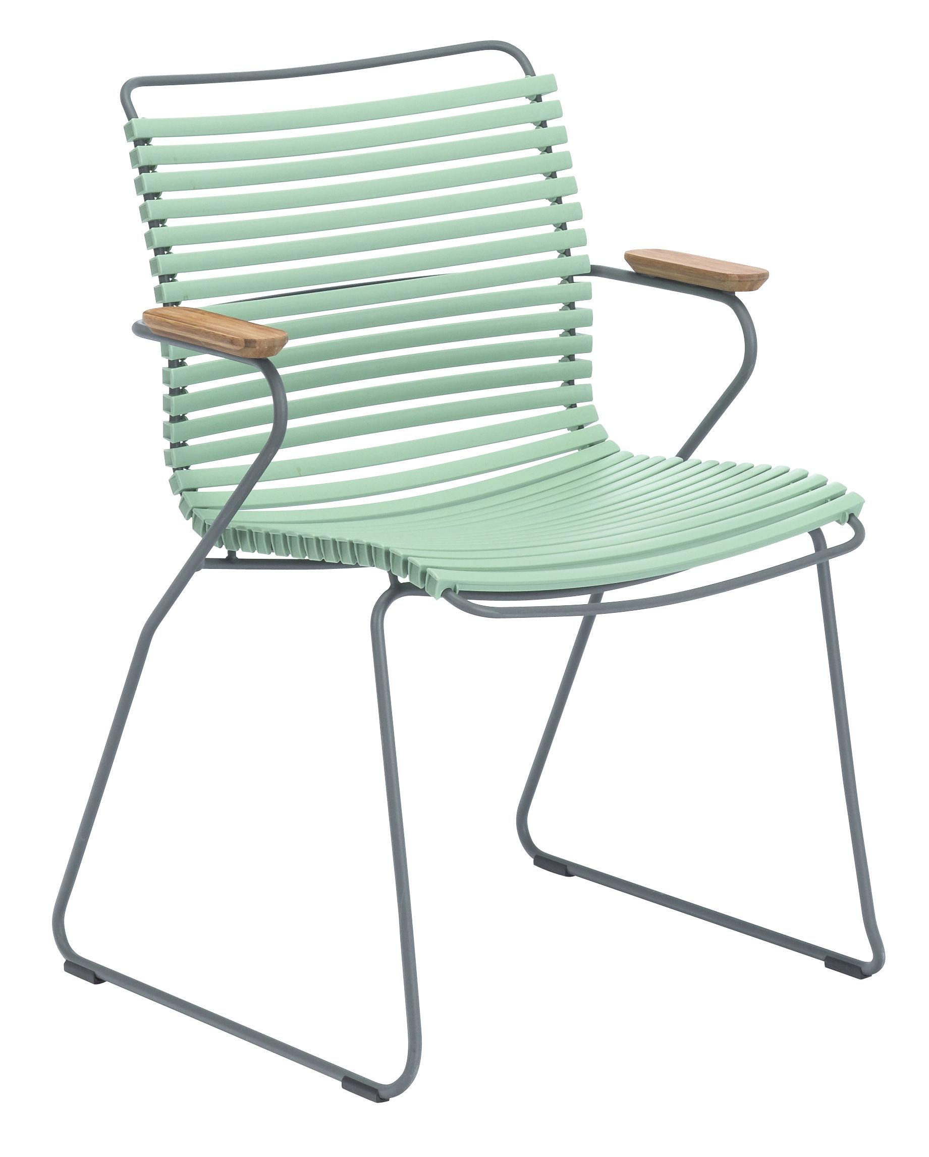 Mobilier - Chaises, fauteuils de salle à manger - Fauteuil Click / Plastique & accoudoirs bambou - Houe - Dusty green - Bambou, Matière plastique, Métal