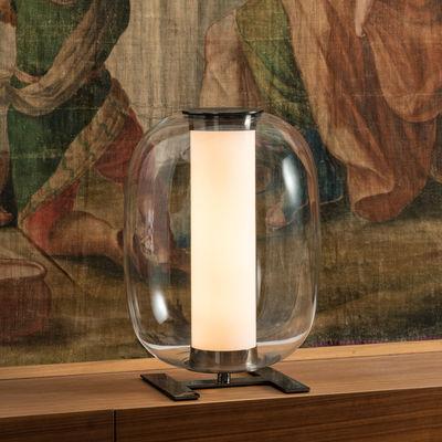 Illuminazione - Lampade da tavolo - Lampada da tavolo Meridiano LED - / Ø 31 x H 43 cm di Fontana Arte - Transparent - Metallo nichelato, vetro soffiato