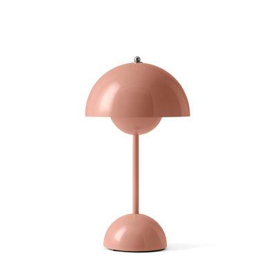 Luminaire - Lampes de table - Lampe sans fil Flowerpot VP9 / H 29,5 cm - By Verner Panton, 1968 - &tradition - Rose poudré - Polycarbonate