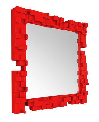 Miroir mural Pixel / 80 x 80 cm - Slide rouge en matière plastique