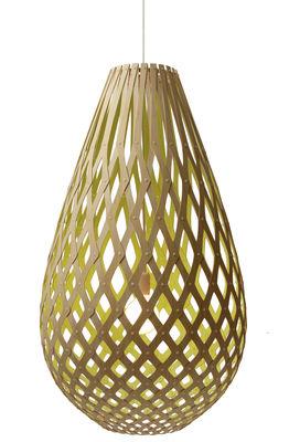 Leuchten - Pendelleuchten - Koura Pendelleuchte Ø 55 cm - zweifarbig - exklusiv - David Trubridge - Zitronengelb / Naturholz - Kiefer
