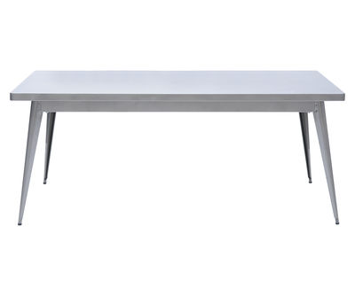 Furniture - Dining Tables - 55 Rectangular table - 190 x 80 cm by Tolix - 190 x 80 cm / Raw glossy varnished - Gloss varnish raw steel