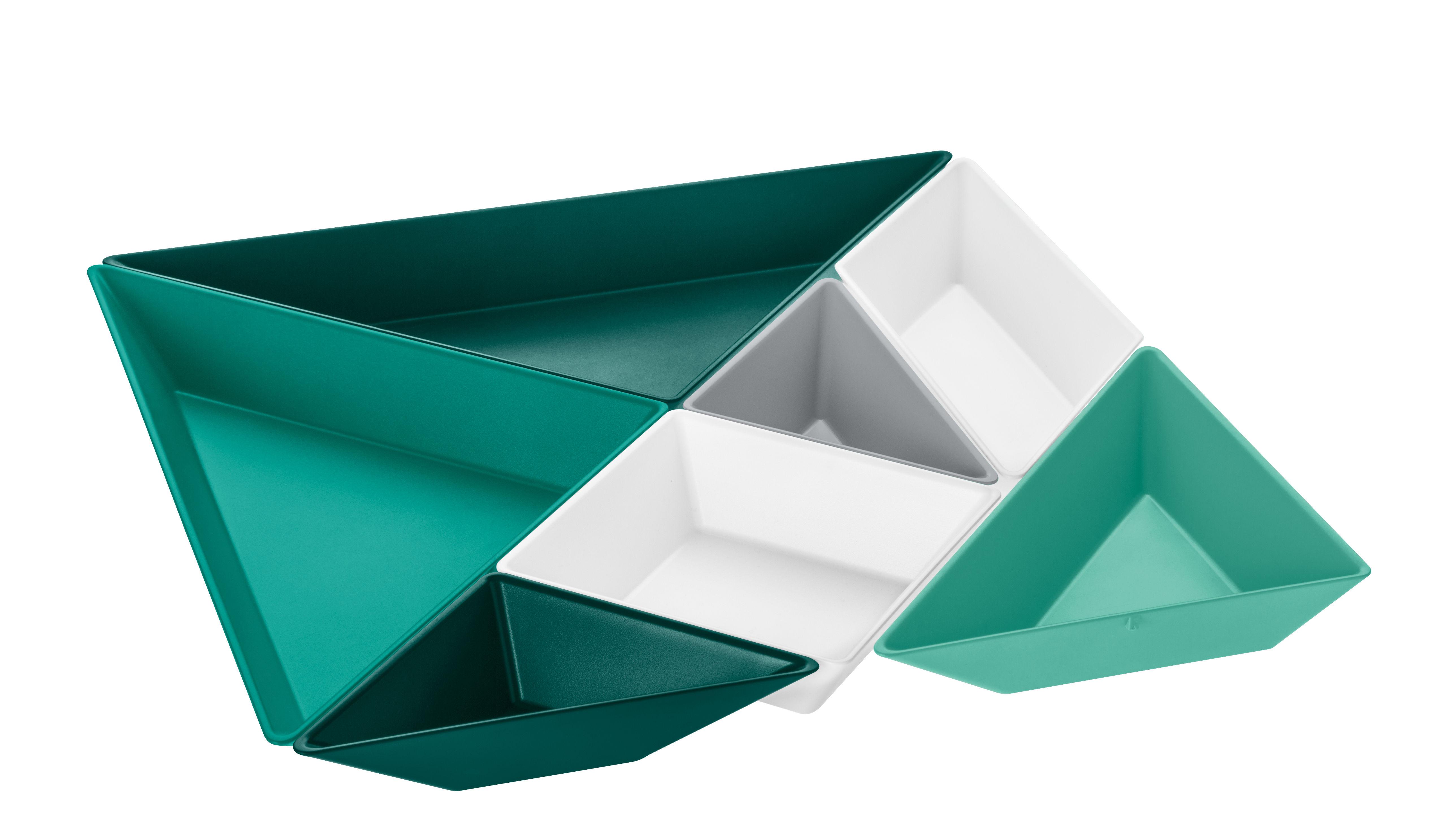 Arts de la table - Saladiers, coupes et bols - Set apéritif Tangram Ready / 7 coupelles - Koziol - Tons verts - Plastique